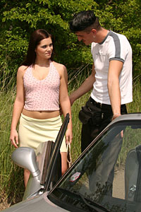 Alberto picks up Mona with the car 2