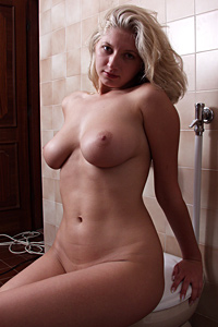 Amazing blonde MILF Judy naked on the toilet 1