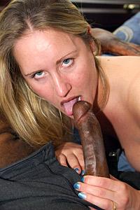 Blonde MILF Brigitte sucks large black cock