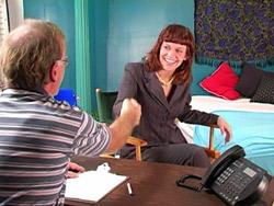 Porn video casting welcome handshake