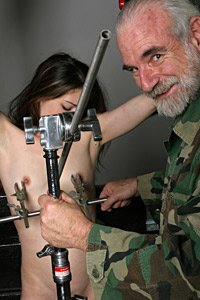 Torture fetish action with nipple gripper and teen Katerina and Master Len