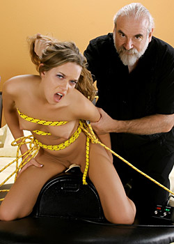 Horny girl Devaun is forced to ride the fucking machine